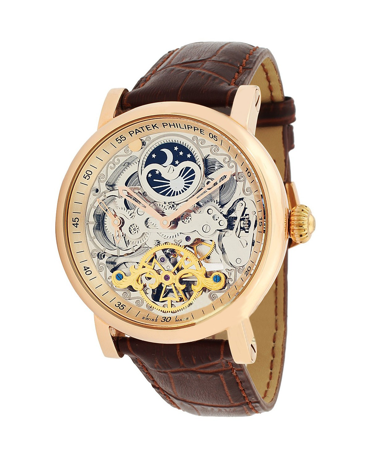 Patek philippe skeleton automatic brown leather strap mens watch for Patek phillipe watch